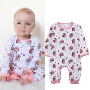2017 spring new owl printed baby baby serial Kazakhstan long sleeved Hayi fast selling Amazon
