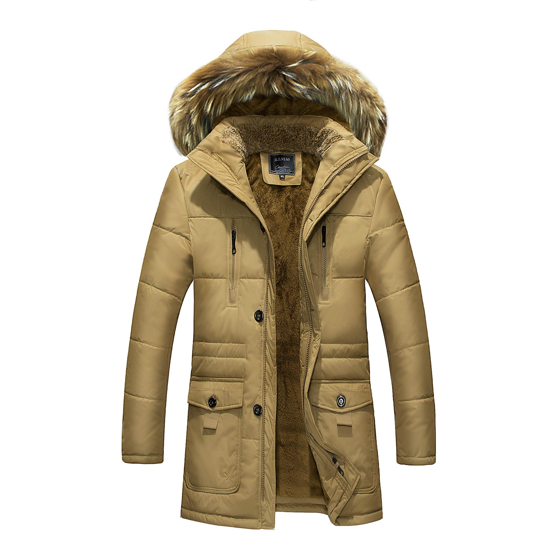 秋冬新款加绒加厚棉衣男士欧美大码宽松连帽保暖棉服羽绒外套大衣