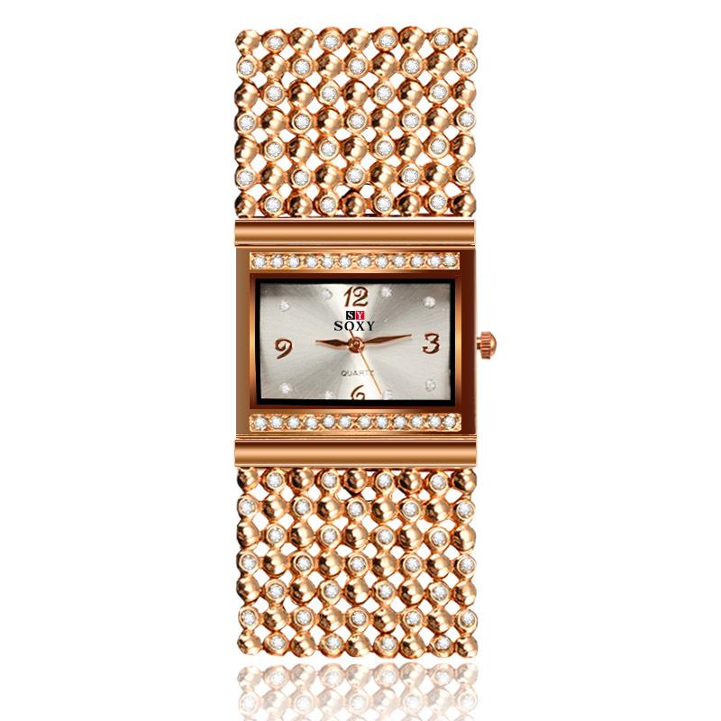 速卖通热销时尚女士合金手链手表创意高档女款石英腕表 一件代发