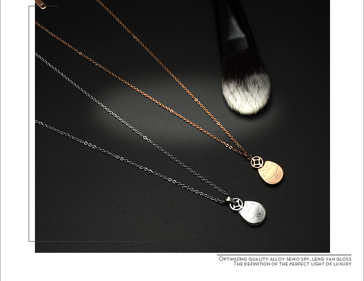 Rose Gold My Neighbor Totoro Double Clavicle Necklace Lucky Cat 18K Real Gold Plating Rose Gold Necklace NHOK186495