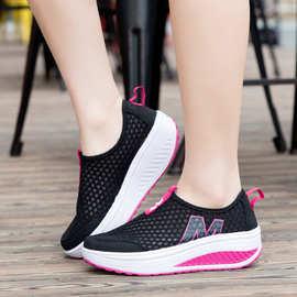 一件代发增高时尚镂空夏季摇摇鞋休闲运动鞋百搭跑步女鞋透气女鞋