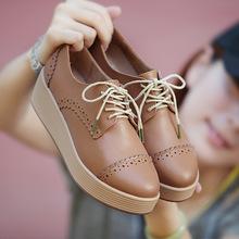 秋冬款英倫布洛克休閑女鞋 松糕跟皮鞋 真皮厚底平底鞋子單鞋批發