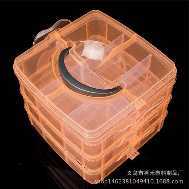 厂家新款小三层6格收纳盒 饰品零件盒 串珠整理盒 收纳盒批发 36