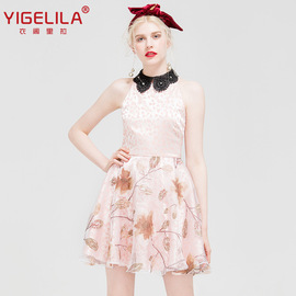 YIGELILA summer new organza print dress doll collar slim dress 61664