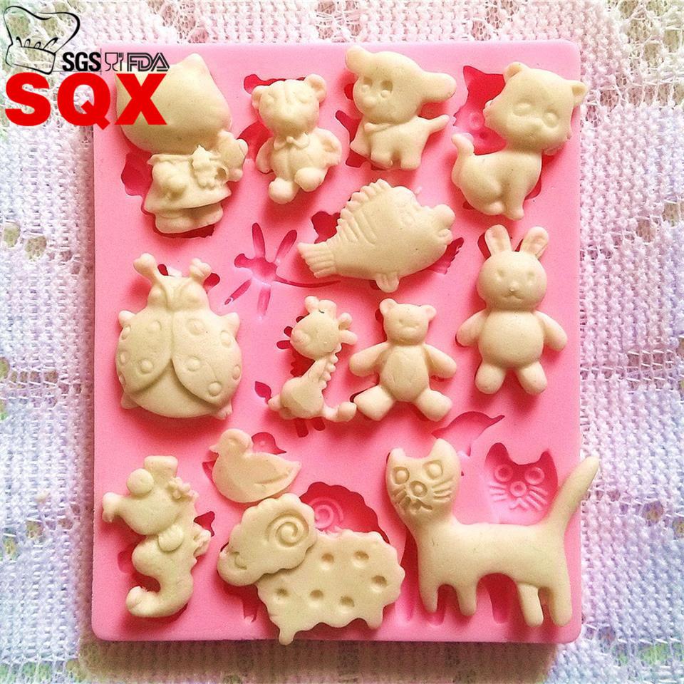 厂家批发小动物集结翻糖模具 烘焙模具 蛋糕模具 软陶模具SQ14121