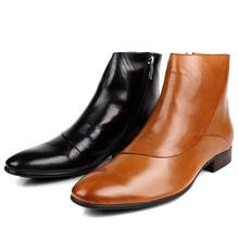 夏季新品英伦时尚韩版牛皮尖头男士牛仔短靴潮流男靴子高帮皮鞋男