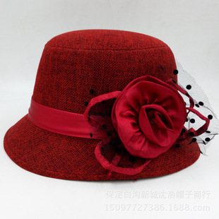 Supply factory direct sale new British big flower dome ladies knight hat retro hat spring and summer sun visor top hat