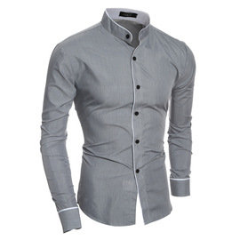 explosion-proof batch of new personality striped casual collar men's slim long-sleeved shirt 5145
