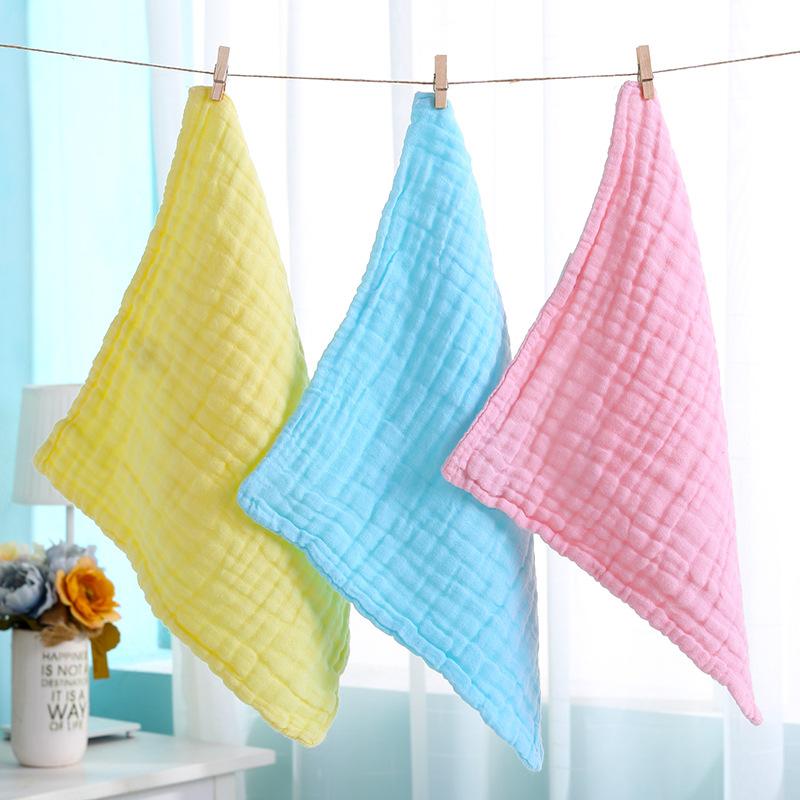 六层彩色水洗纱布手帕 宝宝口水巾 无荧光剂 婴儿方巾