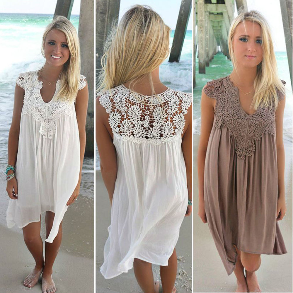 ca5c090ded Details about Summer Womens Splice Lace Crochet Dress Chiffon Beach Dress Cover  Up Swimwear