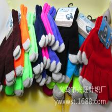 爆款 魔術觸摸屏針織手套廠家批發 韓版新款純色觸屏保暖手套