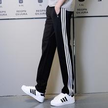 男士運動褲男式休閑褲純棉直筒寬松三條杠大碼衛褲學生運動長褲子