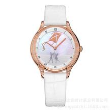 韩国女学生优质合金真皮简约时尚镶钻防水个性气质石英手表厂家
