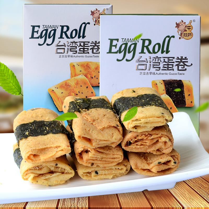 牛葫芦蛋卷 香酥芝麻味海苔味蛋酥卷 休闲零食品批发112g*24盒/箱