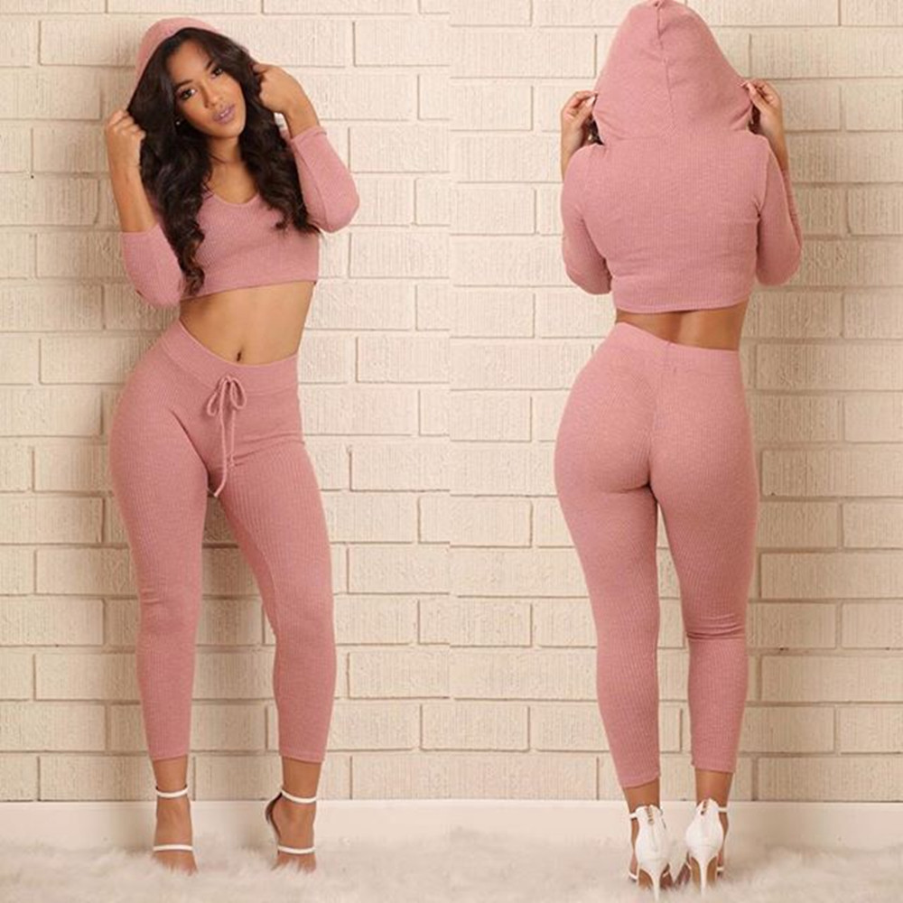 360f3692e Tracksuit Women Sexy Ribbed Hoodies Set Casual Long Sleeve Track ...