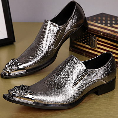 Casual fashion pointed British style shoes for men trendy catwalk singers stage performance shoes men's leather low-top shoes