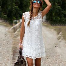2020年爆款 欧美白色蕾丝花边优雅无袖连衣裙 有里布