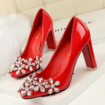han edition fashion show thin high heels for women's shoes thick with sexy high-heeled shallow mouth square diamo