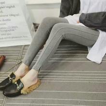 17秋冬新品開叉打底褲韓國代購羊絨拉架九分褲女厚外穿小腳褲