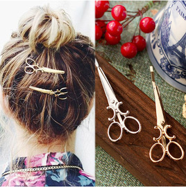 New creative alloy hair clip Personality women's scissors hair clip Liu Hai clip hot sale side folder Yiwu