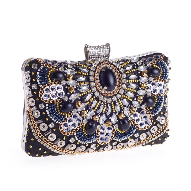 1b42b87612da Luxury Handicraft Beading Diamond Clutch Bags for Women Evening Bag Fashion  Rhinestone Vintage Ladies Party Handbag Purse