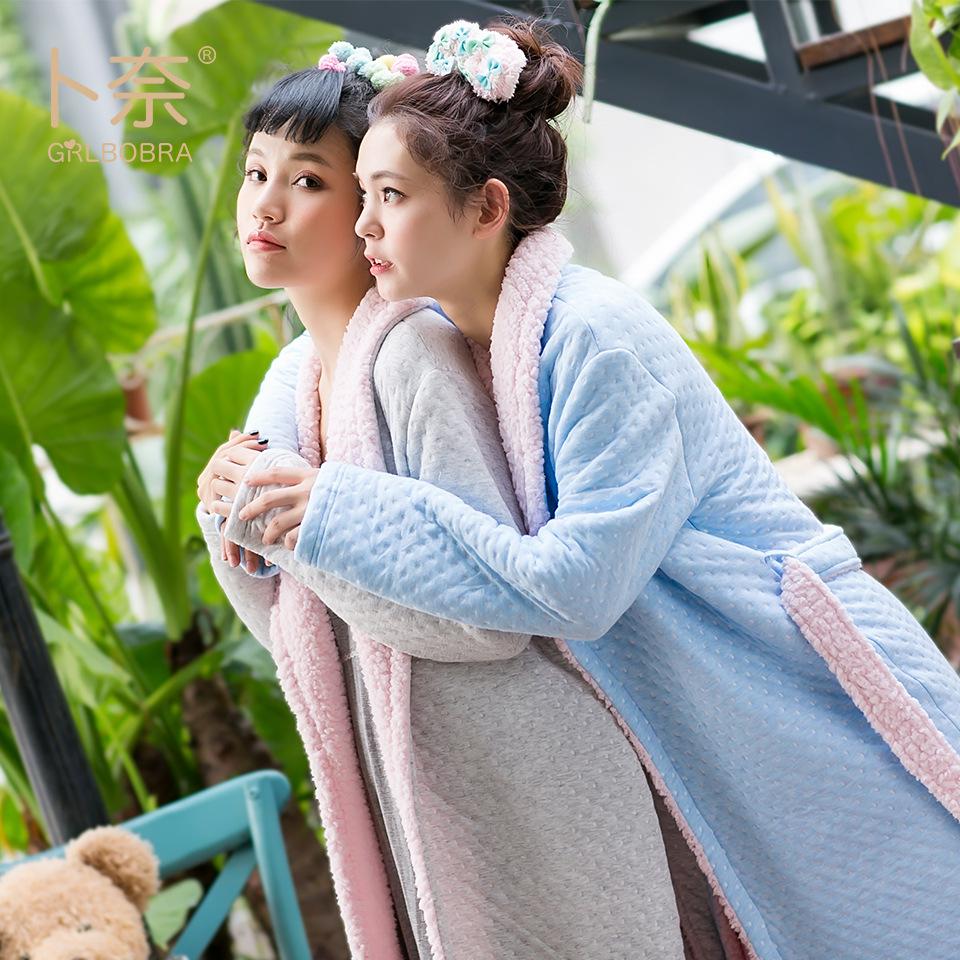 跨境冬季夹层棉睡袍 睡衣女士翻领羊羔绒加厚保暖家居服浴袍