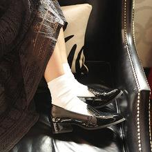 春夏新款全棉女袜子批发百搭短袜纯色复古堆堆袜基础四季款短袜
