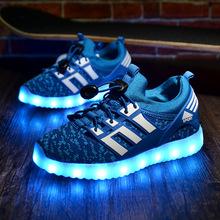 秋季新款男童飞织运动鞋女童韩版LED发光鞋休闲儿童灯鞋工厂直销