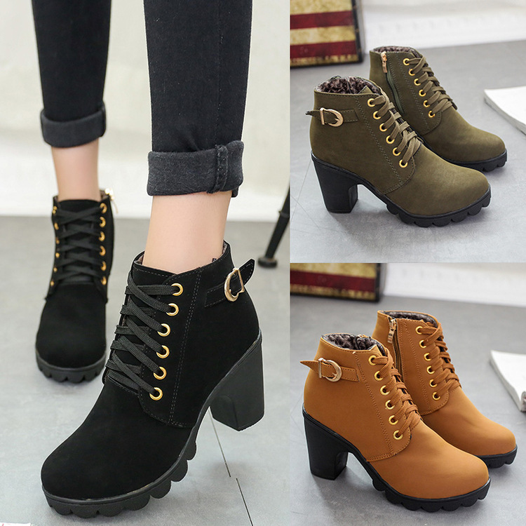 حذاء خريفي واحد بكعب عالٍ ، مشبك حزام ، حذاء نسائي ، حذاء قصير بكعب سميك ، حذاء مارتن بمقدمة مستديرة ، حذاء نسائي برباط علوي وعاري ، حذاء نايت
