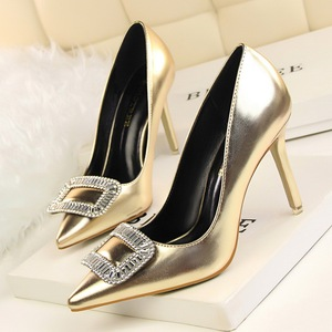 European and American style fashion sexy and elegant banquet diamond buckle shoes