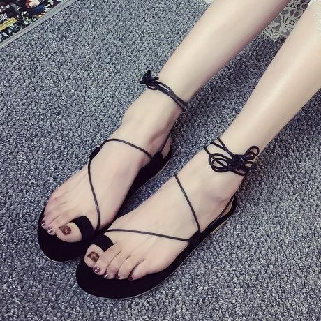 Mùa hè 2016 Dép La Mã mới bằng phẳng với ngón chân phẳng Sexy Dép nữ giản dị