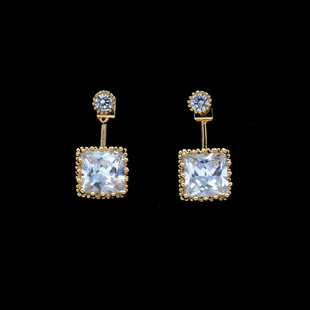 Exquisite S925 alloy rear hanging square imitated crystal rhinestone zircon earrings NHHM132288