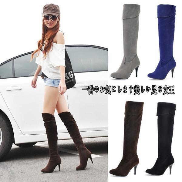 欧美细跟骑士靴侧拉链高跟长靴40-50大码过膝靴子ebay速卖通Wish