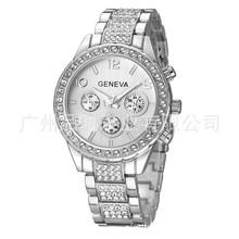 热销新款GENEVA日内瓦手表 镶钻三眼钢带日历腕表 高档女士手表