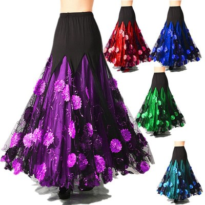 Ballroom dance skirts half body practice skirt social dance big swing skirt national standard dance waltz square dance long skirt