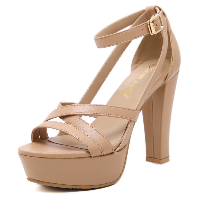 2016 new high with waterproof thick with sandals women Europe and the United States a undertakes high-heeled shoe's main photo