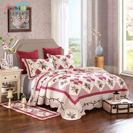 Cotton American patchwork quilted three-piece bed cover air conditioner bedding products Pujiang quilting