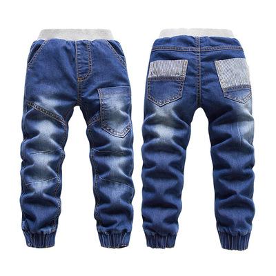 KK兔童装冬季新款纯色休闲双层加绒扎脚牛仔裤 厂家批发1676