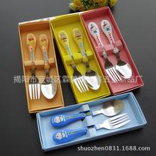 創意韓式塑料柄餐具 尖勺叉餐具 禮盒裝餐具套裝 兒童餐具