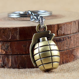 Simulation of Zinc Alloy grenade key chain through Fire Line exquisite Fashion key buckle Accessories