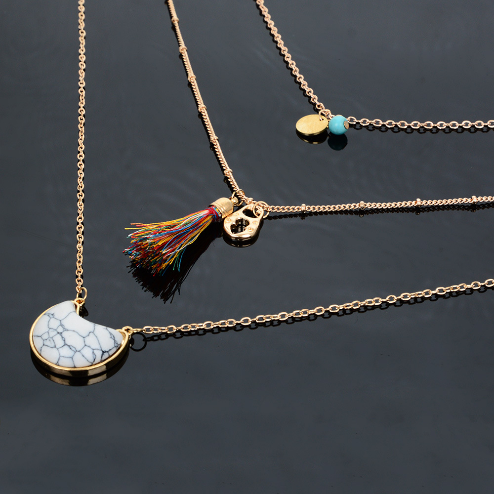 Fashion Vintage Turquoise Pendant Tassel Long Sweater Chain Necklace NHBQ190302