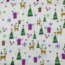 厂价直销 帆布 亚麻 棉麻布坯布印花 DIY手工印染 圣诞鹿