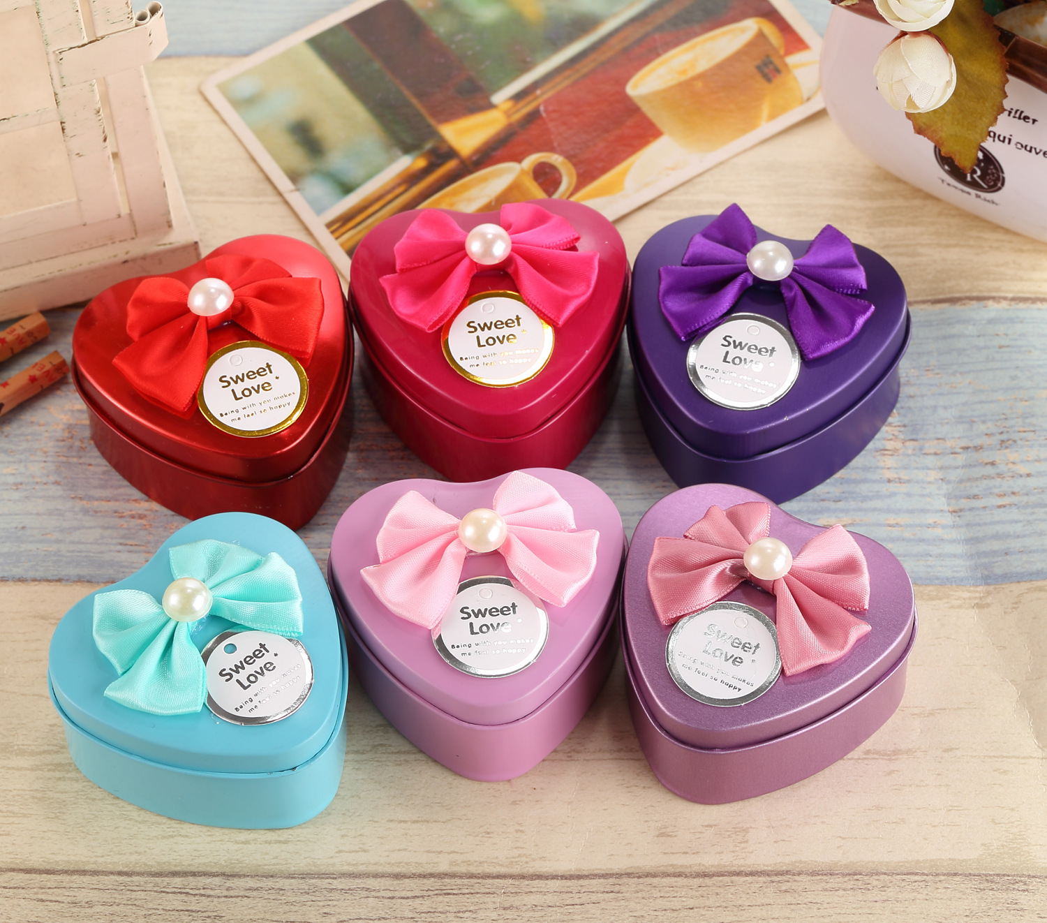 2017 New Style Heart Tin Candy Boxes with Bowknot Ribbon Wedding Box ...