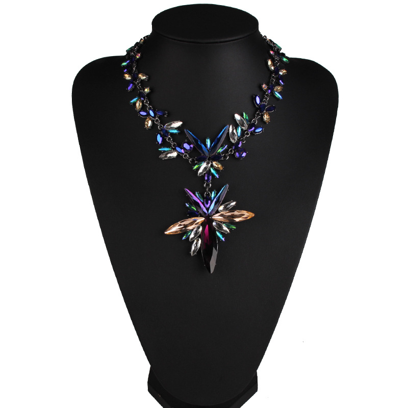 Occident Glass  glass Geometric necklace  color  NHJQ5153