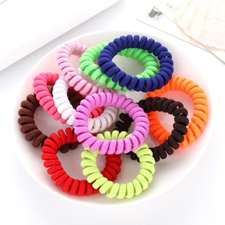 Fabric Telephone Wire Hair Band Ponytail Elastic Phone Cord Line ... c7dac8940e1