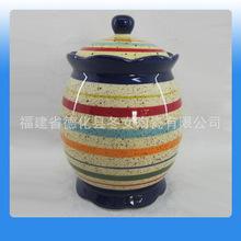 创意陶瓷饼干罐 陶瓷储物罐 定制简约储物罐 外销白云土储物缸