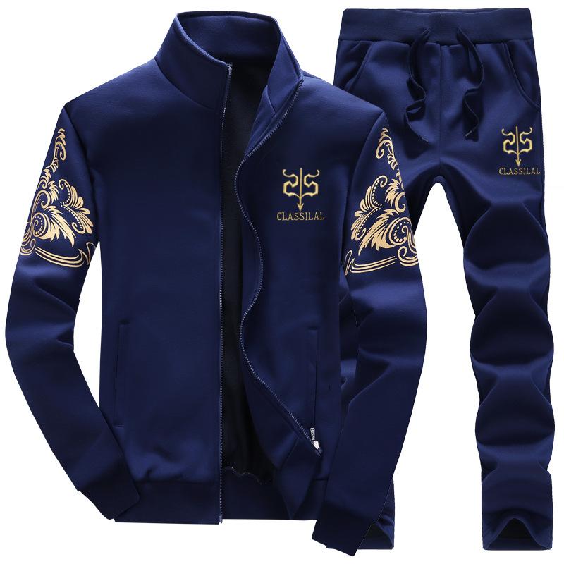 春季玛莎拉蒂男士运动套装休闲长袖棒球服外套中学生男健身卫衣