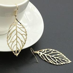 European and American hot style hollow leaf earrings long women fashion temperament retro simple foreign trade earrings wholesale B033