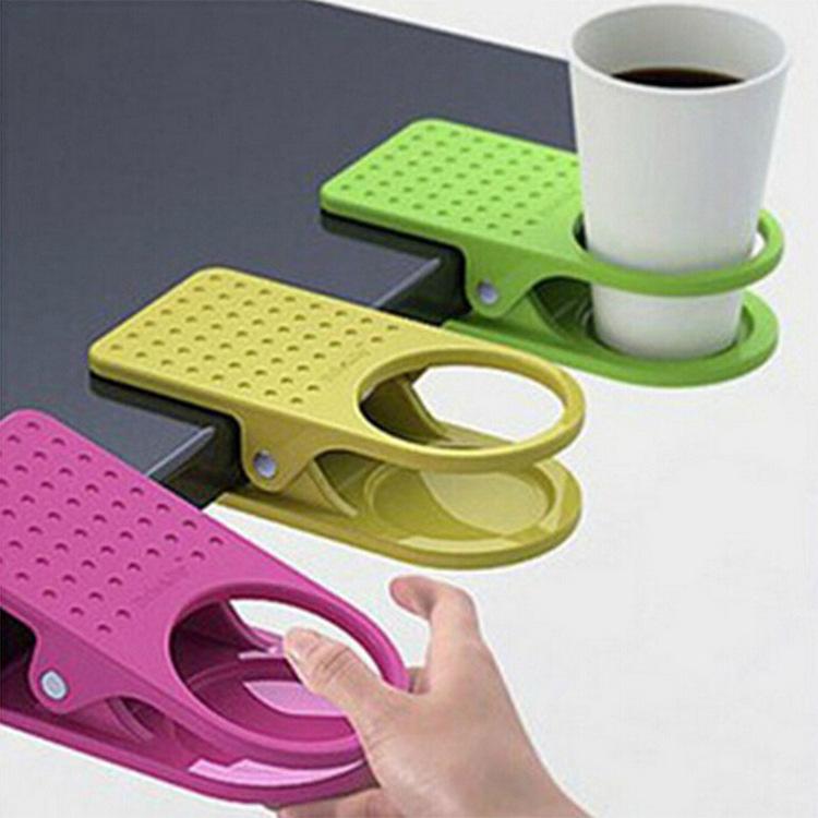 韩式创意时尚大号桌边水杯夹 塑料杯架办公室桌边夹式杯托大夹子