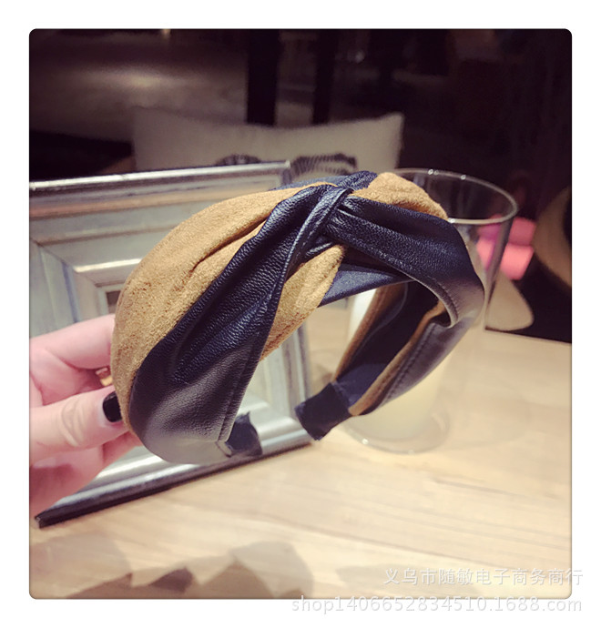 Autumn and winter new imitation leather PU suede hit color knotted wide edge hair band NHSM182746